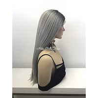 Gray Ombré Lace Front Wig - Cosmic