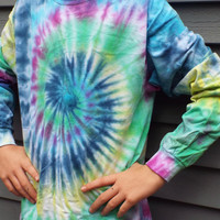 Custom Long Sleeve Tie Dye Swirl, Tie Dye Shirt, Large Tie Dye Tshirt, Hippie Clothes, Retro Shirt, Groovy Shirt, 60s, Long Sleeve Tiedye