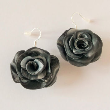 Statement Rose Earrings, Silver Rose, Polymer Clay Jewellery, Rose Jewellery