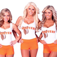 New Logo Printed Hooters Bar Girl T-shirt Vest with or without Hot Pants