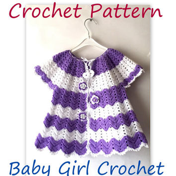 CROCHET PATTERN Cardigan For Girls Crochet Cardigan Pattern For Spring Chevron Sweater For Young Girls Anniverssary Gift Lilac And White