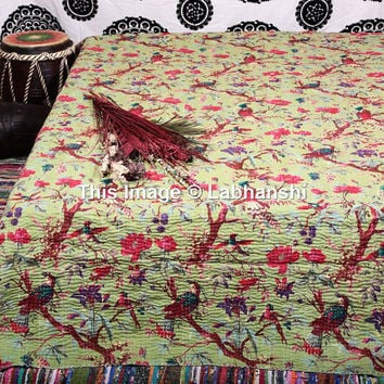 Sari kantha Quilt , Queen Kantha Throw , Kantha Blanket , bohemian quilt , Indian Quilt , Kantha Bedspread , Bird Print Quilt ,Queen Bedding