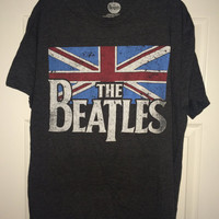Sale!! Vintage THE BEATLES Gray T-shirt band tee UK flag