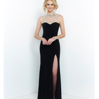 Black Hollywood Glam Beaded Neck Low Back Gown