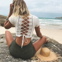 Baby Doll Laced-Up Open Back Crop Top