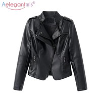 Aelegantmis Hot Sale Classic Women Soft Faux Leather Jackets Lady Cool Zippers Motorcyle Biker Jacket Slim Short Outerwear Black
