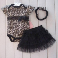 Girls 3pcs Leopard Romper Tutu Skirt Dress+Headband(hat) Set