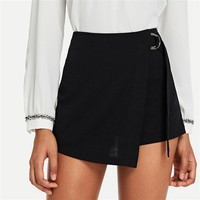 Elegant Office Lady Wrap Solid Knot Zipper Mid Waist Fly Solid Shorts Highstreet Women Shorts