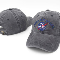 Brand Embroidery Nasa I Need My Space Baseball Cap Hip Hop Women Men Adjustable Denim Gray Dad Hat Bone Gorras Trucker Hat Friend Gray