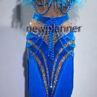 Feather Women Ballroom Rhythm Salsa Rumba Dance Dress US 8 UK 10 Two Blue