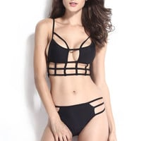 Strappy Cut-Out Bikini in Black
