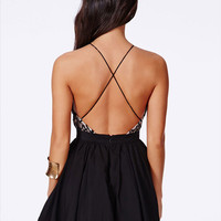 Black Halter Cross Backless Lace A-Line Mini Skater Dress
