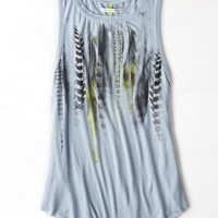 AEO Women's Graphic Muscle Tank (Antique Sky)