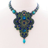 Soutache handmade necklace. Green and dark blue cord jewelry.