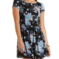 Floral Print Chiffon Skater Dress by Charlotte Russe
