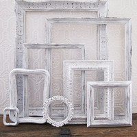 Antique White Picture Frame Set Of 8 Shabby Chic Wall Decor