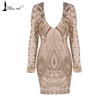 Free Shipping Missord 2016 Sexy Deep-V long-sleeved geometric retro sequin dress FT7031
