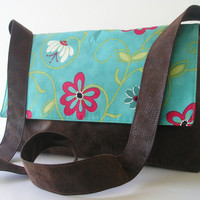 Messenger BagCrossbody Bag in Brown and Teal by jazzygeminis