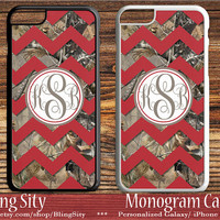 Camo Red Chevron Monogram iPhone 5C 6S Plus Tough Case 5s 4 Rustic Wedding Gift Custom Cover Zig Zag Personalized Country Inspired