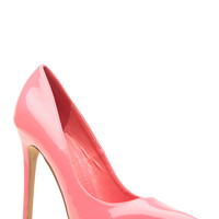 Coral Faux Patent Leather Pointy Toe Classic Pumps