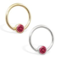 14K real gold captive bead ring with Ruby