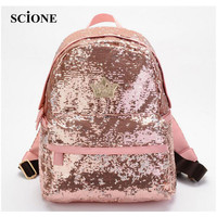 Fashion Crown Embroidered Backpack PU Leather Sequins School Book Bags Casual Small Daypacks Paillette Mochila Travel Bag ZZ472