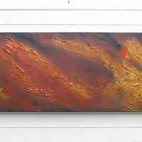 Original Modern Abstract Art Painting Textured Brown Gold Bronze Acrylic on Canvas Wide