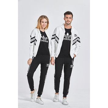 Adidas Simple Fashion Stripe Spring And Autumn Couple Set