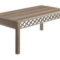 Office Star Helena Coffee Table With Mirror Accent Panel (Greco Oak Finish) [HLN12-GK]