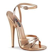"Domina 108 Wrap Strap 6"" High Heels Shoe Rose Gold Sandals 5 - 16"