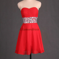 red fashion chiffon prom dress short sweetheart homecoming gowns cheap dress for party with rhinestones