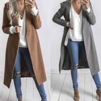 Women Slim Winter Warm Wool Lapel Long Coat Trench Parka Jacket Overcoat Outwear