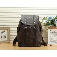 LV Louis Vuitton fashion backpack leather bag large capacity backpack