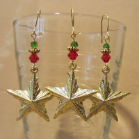 Gold Glitter Christmas Star Ornament Earrings w/ Red & Green Crystals, Holiday, Festive, Handmade, Original Design, Fashion Jewelry, Sparkle