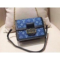 LV fashionable jeans patchwork color shoulder bag popular casual lady shopping bag