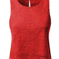 LE3NO Womens Sleeveless Floral Lace Crochet Crop Top (CLEARANCE)
