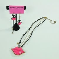 Betsey Johnson Lips Necklace and Earrings set