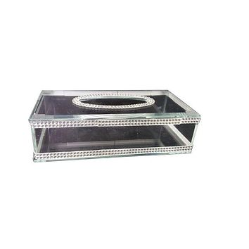 Tissue Box Crystal With Silver Stones`