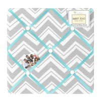 Turquoise and Gray Chevron Zig Zag Fabric Memory/Memo Photo Bulletin Board by Sweet Jojo Designs