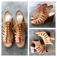 A Cutout Laceup Bootie in Camel