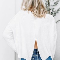 White Crossed Open Back Crop Sweater