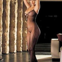 Stretch Fishnet Body Stocking Criss-cross Front Mock Bending Lace Sides - Black