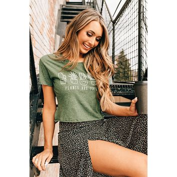 """""""Plants Are Friends"""" Graphic Cropped T-Shirt"""" (Pine Green)"""
