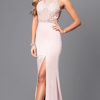 Beaded High Neck Illusion Bodice Long Prom Dress