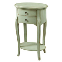 """Antique Green Veneer 29""""H Accent Table with 2 Drawers"""