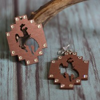 Bronco Crossed Earrings - Copper