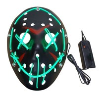 Black Cool Halloween Mask LED Light Up Black Mask from The Election Year Great for Festival Cosplay Halloween Costume Jason Mask