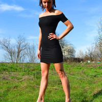 SAMPLE SALE Off The Shoulder Short Sleeve Sexy Stretchy Tight Night Out Mini Party Dress Little Black Dress Size XS