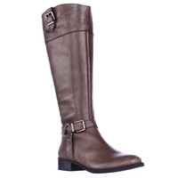 I35 Fedee Harness Strap Wide Calf Riding Boots, Cement, 6 US