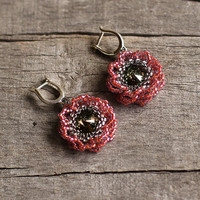 Flower  earrings, artisan beadwork earrings, romantic jewelry for her, gift for girlfriend, Valentine gift